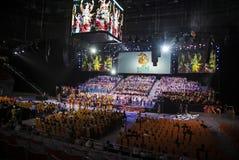 索契,俄罗斯- 7月6 :Bolshoy 2016年6月06日的冰圆顶在索契,在阶段的俄罗斯排练世界唱诗班比赛的 库存照片
