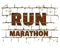 奔跑马拉松,在风格化砖墙打印的体育诱导电话 您的设计的织地不很细题字 向量 皇族释放例证