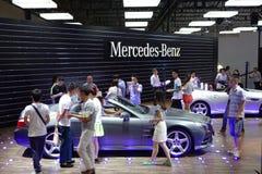 奔驰车亭子  . 路向西部的中国的-第16个成都汽车展示会, 8日8月31th 9月, 2013年 库存图片