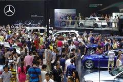 奔驰车亭子  . 路向西部的中国的-第16个成都汽车展示会, 8日8月31th 9月, 2013年 图库摄影