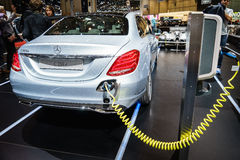 奔驰车C350e插入式杂种,汽车展示会吉恩威2015年 免版税库存照片
