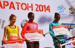 奖优胜者妇女索非亚马拉松 免版税库存图片