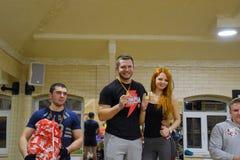 奖励参加者在跨战斗 健身霍尔斯坦 跨比赛竞争致力生日  免版税图库摄影
