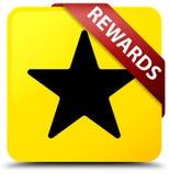 奖励(星象)染黄方形的在角落的按钮红色丝带 免版税库存图片