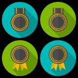 奖或徽章与丝带和装饰 免版税库存图片
