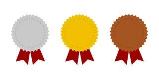奖牌象 金,银色和铜牌象 冠军奖牌 库存照片