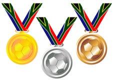 奖牌足球 向量例证