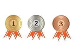奖牌,硬币 金子,银,古铜,隔绝在白色背景 免版税图库摄影