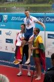奖牌仪式,单打运动员短桨,欧洲荡桨的Championshi 免版税库存图片