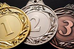 奖的三枚奖牌 免版税库存照片