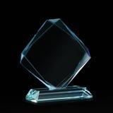 奖的晶体坯在黑色 免版税库存照片