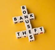 奖金、银行和偷窃 免版税库存图片