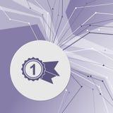 奖,与丝带象的徽章在紫色抽象现代背景 线四面八方 您的广告的室 库存照片