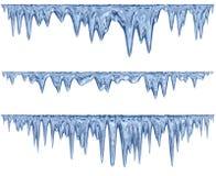 套一片蓝色树荫的垂悬的解冻冰柱 皇族释放例证