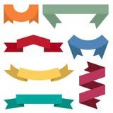 套七副五颜六色的丝带和横幅网络设计的 免版税库存照片