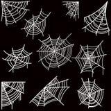 套万圣夜在黑暗的背景上的蜘蛛网 设计海报的,卡片,横幅,飞行物,装饰元素 库存例证
