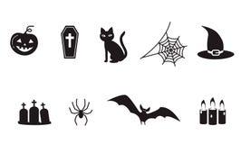 套万圣夜象标志,蜘蛛,网,鬼的吸血蝙蝠, 皇族释放例证