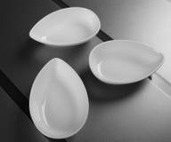 套三个深瓷碗 顶视图 免版税库存照片