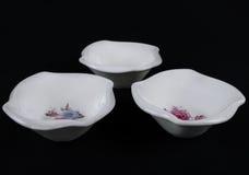 套三个深瓷碗 顶视图 库存照片