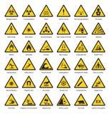 套三角黄色警报信号危险头垢注意标志化工易燃的安全辐射小心象 向量例证