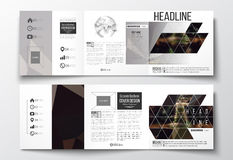 套三部合成的小册子,方形的设计模板 黑暗的多角形背景,被弄脏的图象,夜城市风景 免版税库存照片