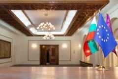 套三面旗子在Al大厅里 免版税库存图片
