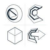 套三维抽象象,戏剧标志,箭头 库存例证