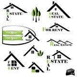 套不动产商业的房子图标 免版税图库摄影