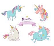 套不可思议的unicons -逗人喜爱的手拉的象 库存例证