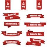 套不同的丝带为阵亡将士纪念日美国 也corel凹道例证向量 免版税库存照片