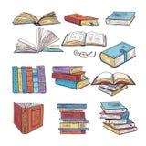 套不同的书 百科全书,字典和其他 乱画导航例证 皇族释放例证