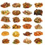 套不同的亚洲盘在餐馆 免版税库存图片