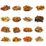 套不同的亚洲盘在餐馆 免版税库存照片