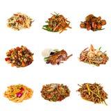套不同的亚洲盘在餐馆 免版税图库摄影