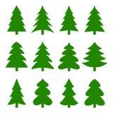 套不同的冷杉木 圣诞节收集 也corel凹道例证向量 库存例证