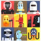 套不同的动画片机器人 免版税图库摄影
