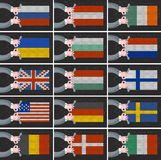 套不同的国家旗子  库存照片