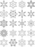 套不同的在白色背景隔绝的剪影雪花平的线性象 也corel凹道例证向量 库存例证