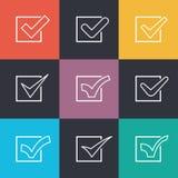 套不同的平的传染媒介校验标志 免版税库存图片