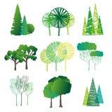 套不同的树 如图解在白色背景的树 向量例证