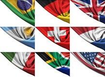 套不同的状态旗子包括美国,英国, 免版税库存照片