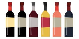 套不同的瓶在平的样式的酒 t的设计 库存例证