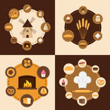 套不同的种类面包,甜酥皮点心和面包店产品 免版税图库摄影