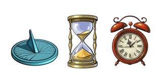 套不同的老时钟 日规,滴漏,闹钟 在葡萄酒样式的手拉的传染媒介例证 库存例证