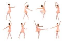 套不同的芭蕾姿势。黑白踪影 免版税图库摄影