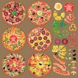 套不同的薄饼成份 薄饼的六种类型 库存照片