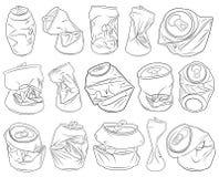 套不同的被击碎的罐头 库存例证