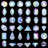 套不同的裁减和颜色宝石 免版税库存图片