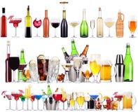 套不同的酒精饮料和鸡尾酒 图库摄影
