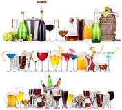 套不同的酒精饮料和鸡尾酒 免版税库存图片